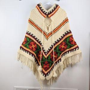 Vintage Wool Floral Knit Fringe Poncho Sweater
